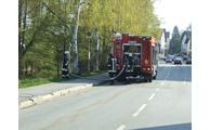 -Feuerwehr im Einsatz am Regen. Foto: Langer/Landratsamt
