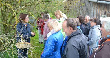 Kräuterpädagogin Elisabeth Hof (ganz links) erklärte im Kreislehrgarten die Vorzüge heimischer Wildkräuter (Foto: Eder, Landkreis Regen)