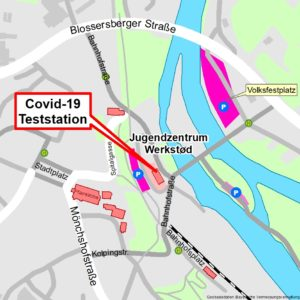 Anfahrtsskizze Covid-19 Teststation Viechtach. Foto: Landkreis Regen