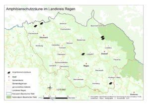 An den mit Fröschen markierten Stellen befinden sich derzeit Amphibienzäune. Grafik: Kronschnabl/Naturpark Bayerischer Wald
