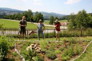 Viola Fuchs (rechts) zeigt Rosemarie Wagenstaller und Klaus Eder ihr neu mit Stauden und Kräutern bepflanztes Beet. Foto: Langer/Landkreis Regen